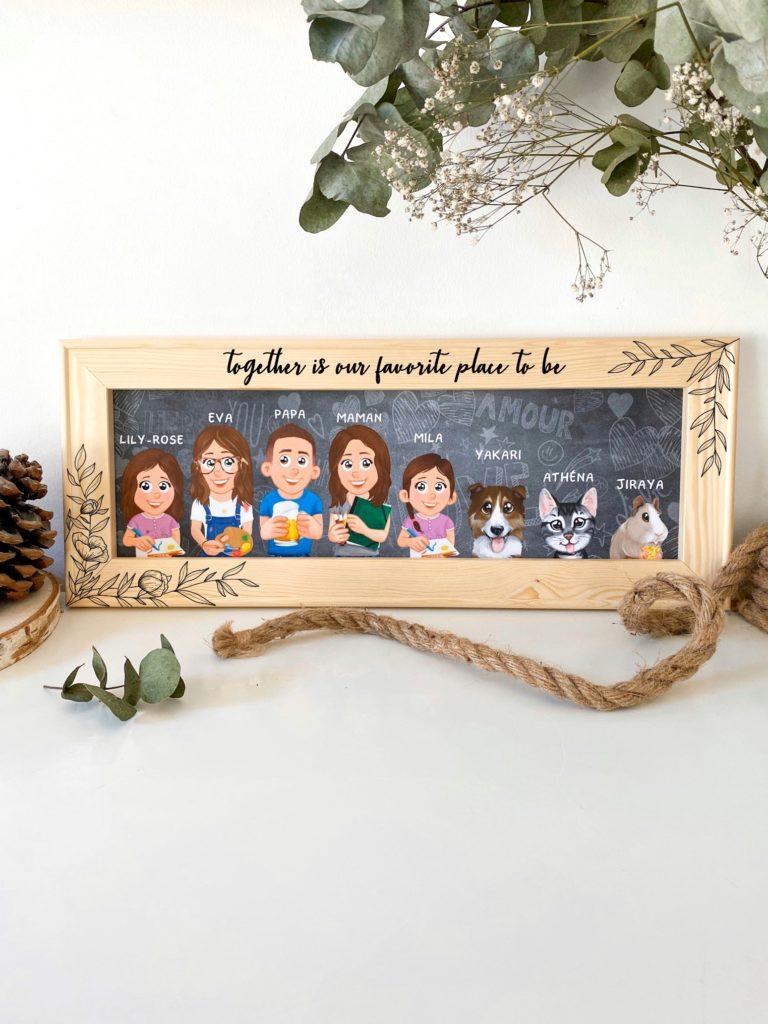 """Test et personnalisation d'un portrait de famille """"Famille de dingue"""""""