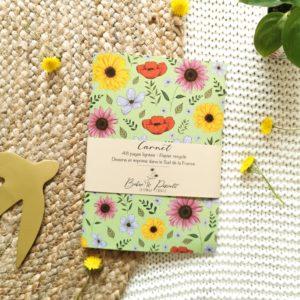 Carnet recyclé vert fleuri