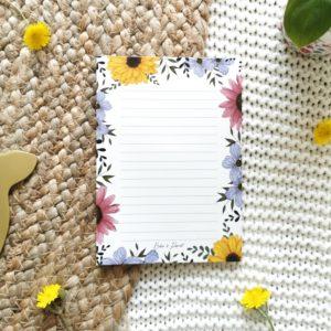 Bloc-notes recyclé fleurs