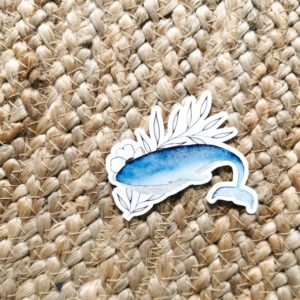 Sticker baleine et fleurs
